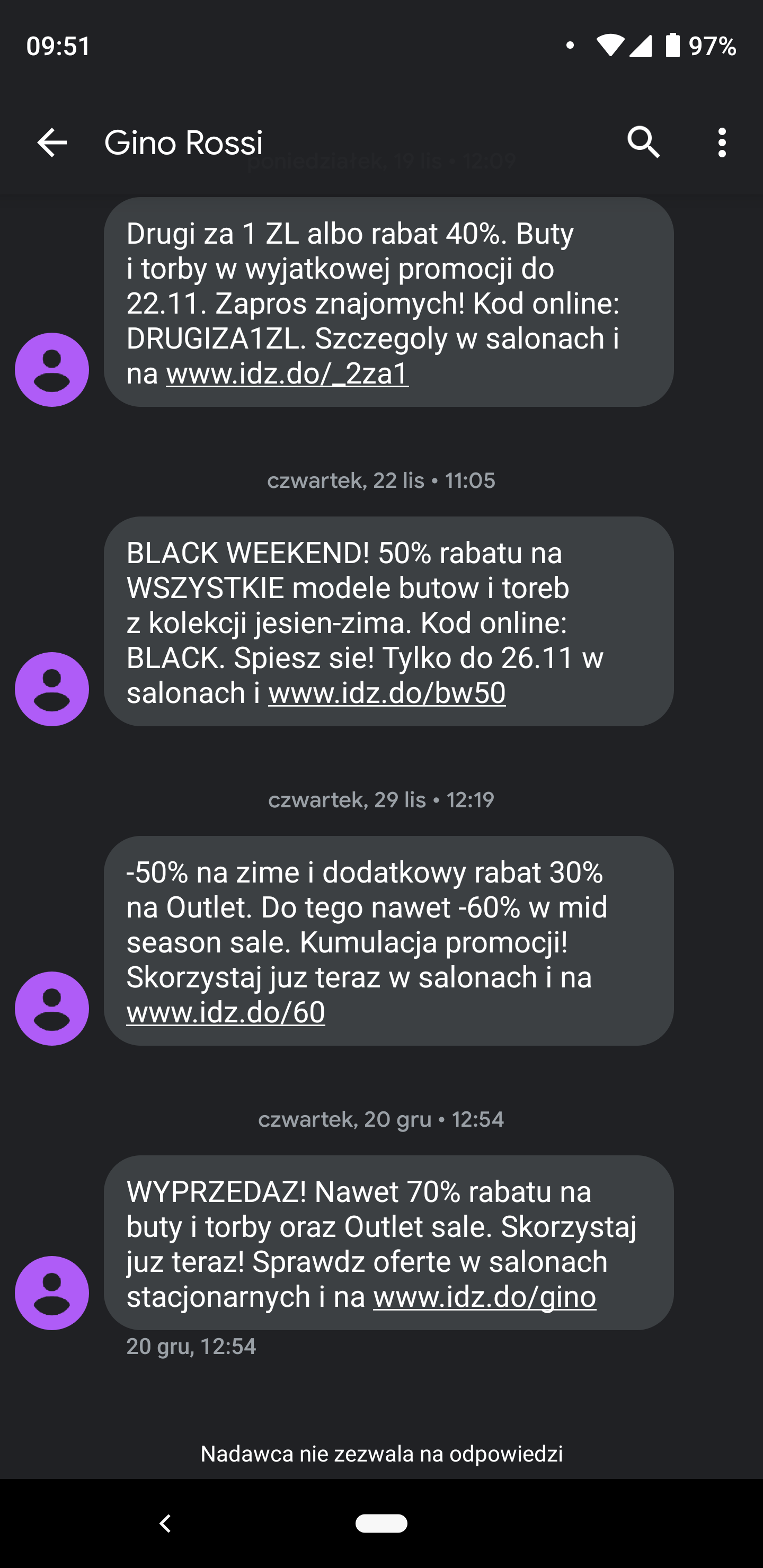 sms w e-commerce Gino Rossi przykład